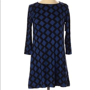 Hourglass Lilly Blue/Black Geo Print Dress NWT